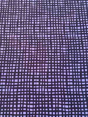 Square Web Washed Printed Silk and Cotton - Navy / Purple