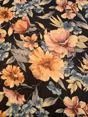 Romantic Floral Printed Silk Georgette - Black / Mauve / Dusty Peach