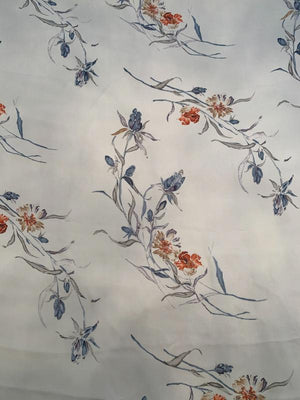 Classy Floral Printed Silk Georgette - Grey / Blue / Burnt Orange