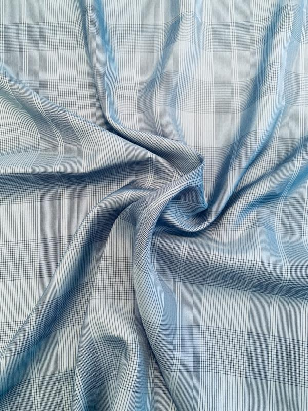 Glen Plaid Yarn-Dyed Silk Shirting - Blue / Navy
