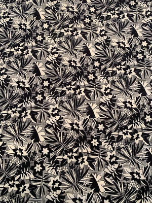 Tribal Flowers and Leaves Printed Silk Fuji - Black / Off-White