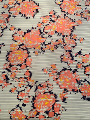 Floral on Stripes Heavy Printed Silk Habotai - Coral / Navy / Yellow / Grey / White