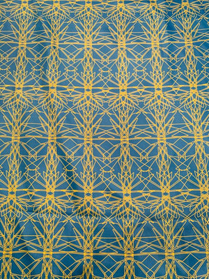 Art Deco Pattern Mini Printed Silk Twill - Blue / Chartreuse