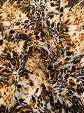 Animal Pattern Printed Silk Crepe de Chine - Black / Mustard / Brown / White