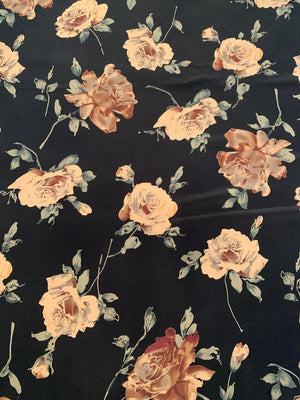 Romantic Floral Printed Silk Crepe de Chine - Black / Tan / Dusty Teal