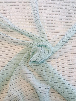 Italian Ruched Textured Striped Silk Chiffon - Mint / Black
