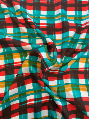 Painterly Plaid Printed Mini Silk Twill - Red / Jade / White / Mustard