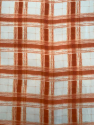 Painterly Plaid Printed Silk Georgette - Pumpkin Spice Orange / Off-White