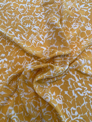 Abstract Leaf Graphic Printed Silk Crepe de Chine - Mustard Gold / Off-White