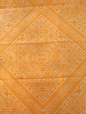 Modern Aztec Silk and Cotton Twill - Orange / White