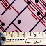 Dot & Striped Printed Silk Chiffon - Light Pink/Red/Black - Fabrics & Fabrics NY