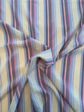 Vertical Striped Printed Silk Broadcloth - Light Blue / Purple / Pink / Beige