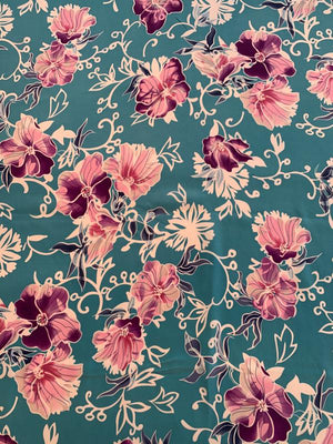 Asian Garden Floral Stretch 2-Ply Silk Crepe - Violet / Pink / Teal / White