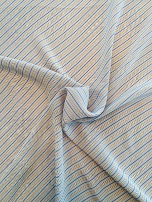 Diagonal Striped Washed Printed Silk Crepe de Chine - Blue / Beige / White
