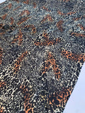 Animal Pattern Silk Chiffon with Stitched Sequins - Black / Cream / Orange