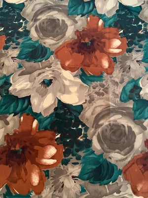 Italian Painterly Large Floral Printed Silk Crepe de Chine - Spruce Green / Clay / Cinnamon