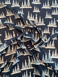 Oil Rigs Graphic Printed Silk Georgette - Black / Beige