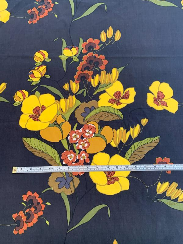 Oriental Floral Printed Silk Fuji - Black / Yellow / Orange / Olive