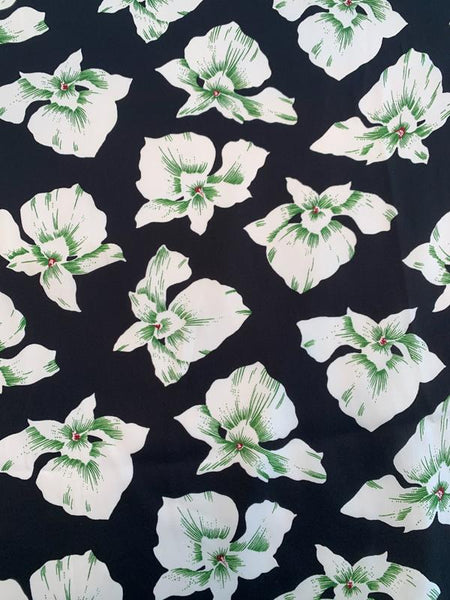Tropical Floral Printed Silk Charmeuse - Black / White / Green