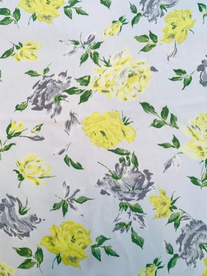 Floral Printed Silk Georgette - White / Yellow / Grey / Green