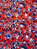 Art Collector Floral Printed Fused Silk Charmeuse - Vibrant Red / Sky Blue / Navy / White