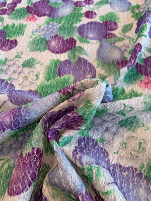 Fruits Printed Wavy Textured Accordion Polyester Knit - Purple / Green / Light Grey