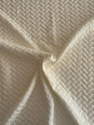 Crosshatch Pattern Quilt-Like Rayon Poly Knit - Off-White