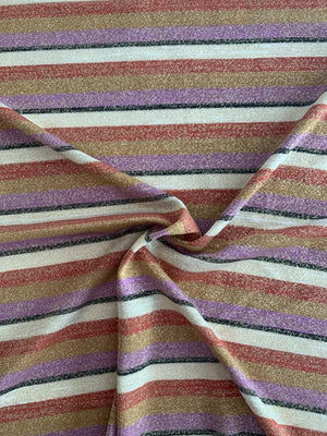 Horizontal Multi Striped Rayon Poly Jersey Knit with Lurex - Purple / Saddle / Brick / Black / Gold
