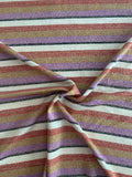 Horizontal Multi Striped with Lurex Jersey Knit - Purple / Saddle / Brick / Black / Gold