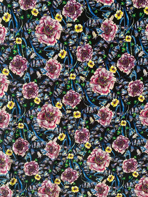 Italian Floral Printed Viscose Jersey Knit - Black / Blue / Magenta / Yellow