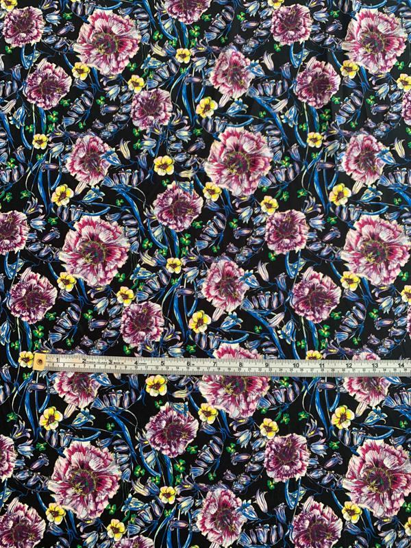 Italian Floral Printed Viscose Spandex Jersey Knit - Black / Blue / Magenta / Yellow