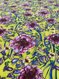 Italian Floral Printed Viscose Jersey Knit - Yellow / Magenta / Blue / Green