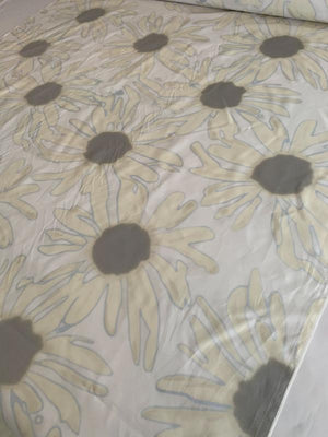 Daisy Printed Silk and Cotton Voile - Off-White / Maize / Grey / Blue