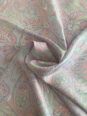 Oversize Paisley Floral Printed Silk Habotai - Light Blue / Light Pink / Lavender / Light Mint