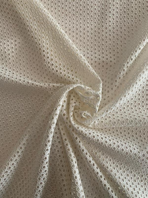 Italian Circles Embroidered Cotton Eyelet - Ivory