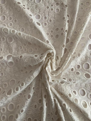 Wavy and Circular Embroidered Cotton Eyelet - Off-White