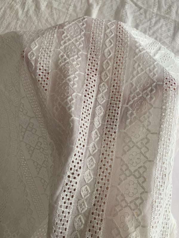 Stripe Pattern Embroidered Cotton Voile Eyelet - Off-White
