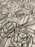 Floral Embroidered Cotton - Ivory / Black