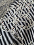 Floral Embroidered and Eyelet Striped Cotton Shirting - Black / Ivory