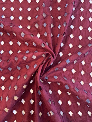 Geometric Embroidered Cotton Eyelet - Maroon