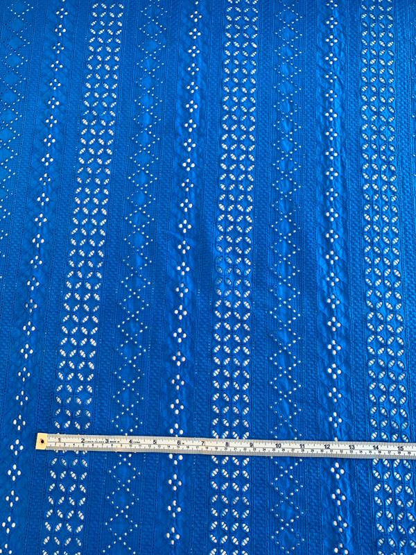 Stripe Pattern Embroidered Cotton Eyelet - Royal Blue