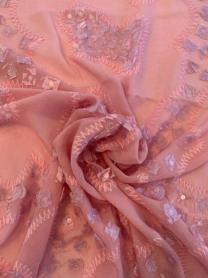 Embroidered and Stitched Silk Chiffon with Sequins - Dusty Pink