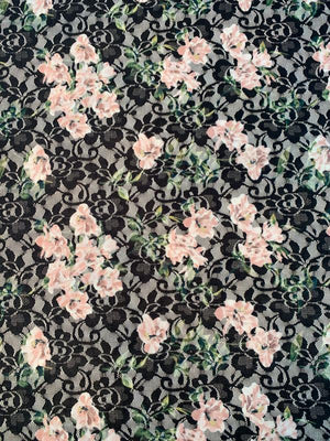 Floral Printed Lace - Navy / Pink / Green