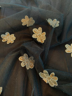 Floral Embroidered Tulle with Scalloped Finish - Black / Antique Gold / White