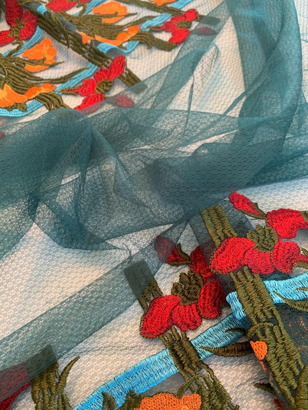 Anna Sui Floral Double Bordered Novelty Tulle - Teal / Orange / Red / Turquoise