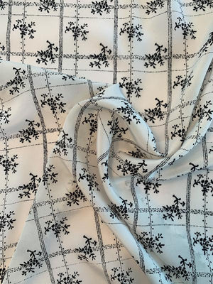 Floral Grid Printed Silk Crepe de Chine - Off-White / Black