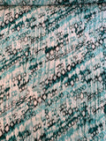 Abstract Ikat Printed Cloque Silk - Seafoam / Teal / White
