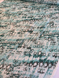 Abstract Ikat Printed Silk Chiffon - Seafoam / Teal / White