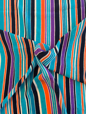 Abraham Verticle Striped Printed Silk Jacquard - Turquoise / Orange / Navy / White