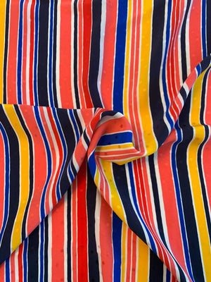 Abraham Vertical Striped Printed Silk Jacquard - Coral / Yellow / Royal / Navy  / White